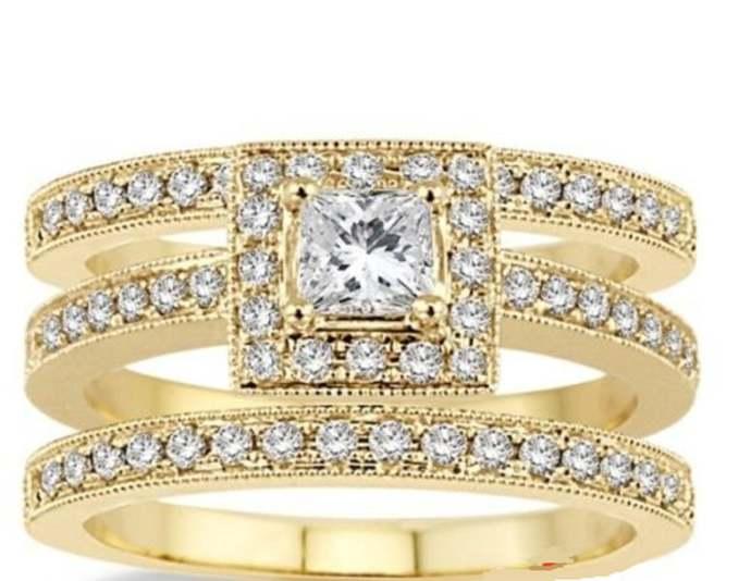 10k 10ct Yellow Gold Finish 3 Piece Beautiful Ring Set Cushion-Cut Diamond