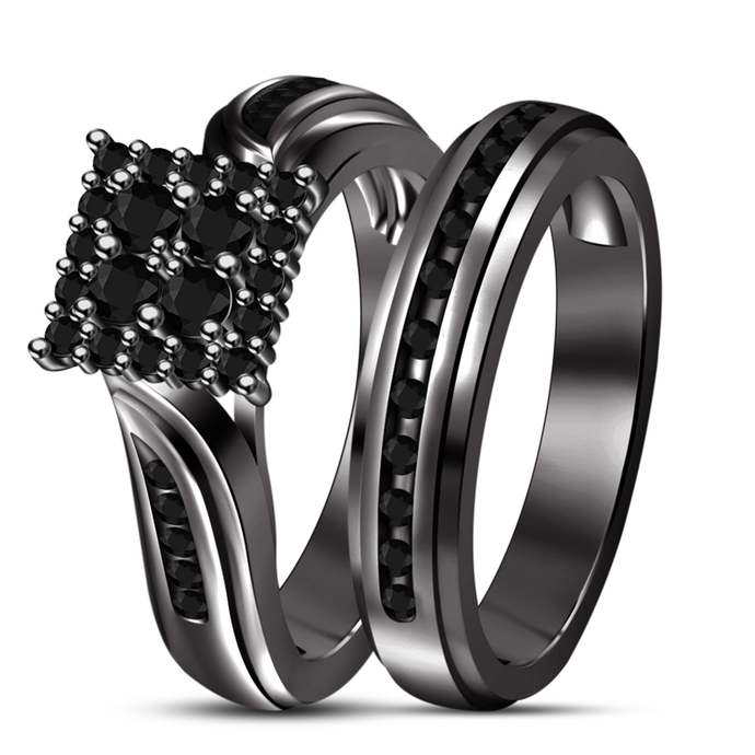 Square Cubic Zirconia Bridal Set - 10k Black Gold Filled - Round Cut CZ Jewelry