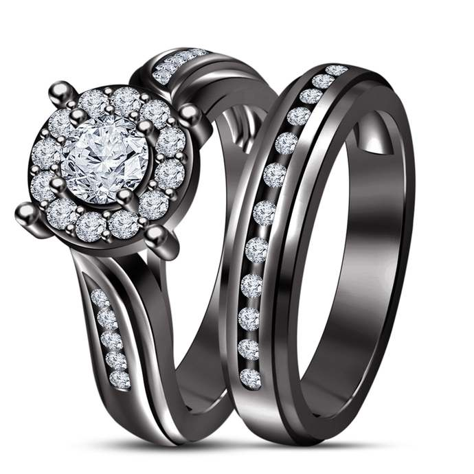Solid 18k Black Gold Plated Round Cut Diamond Engagement Wedding Ring Set With