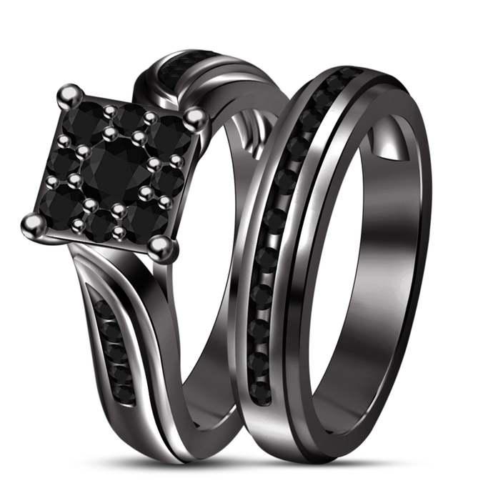 925 Sterling Silver Diamond Women's Bridal Set Engagement & Wedding Ring 14K
