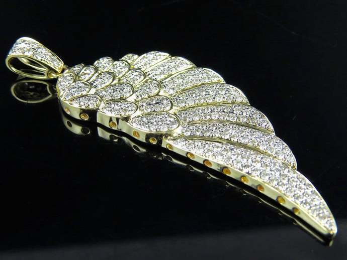 Solid 10k Yellow Gold Plated Single Angel Wing Diamond 2.25 inch Pendant 925