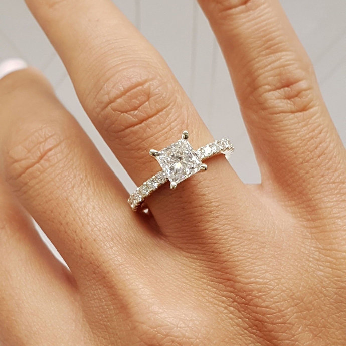 2.50 Carat Princess Cut Diamond Solitaire Engagement Ring 925 Sterling Silver