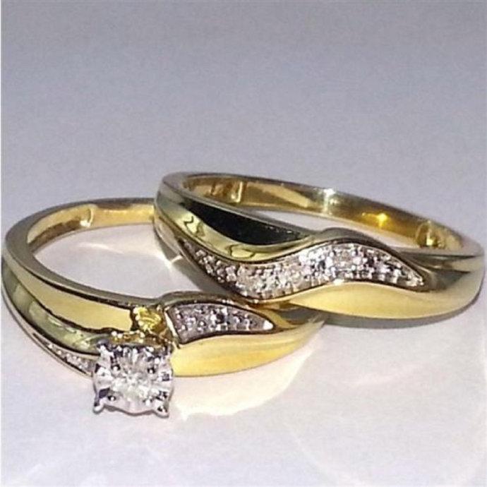 14K Yellow Gold Finish Bridal Set Round Cut Diamond Engagement Wedding Ring Set