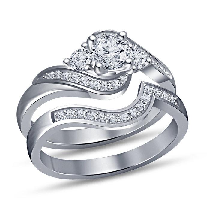 Round Diamond 14K White Gold Finish Engagement Wedding Bridal Ring Set For