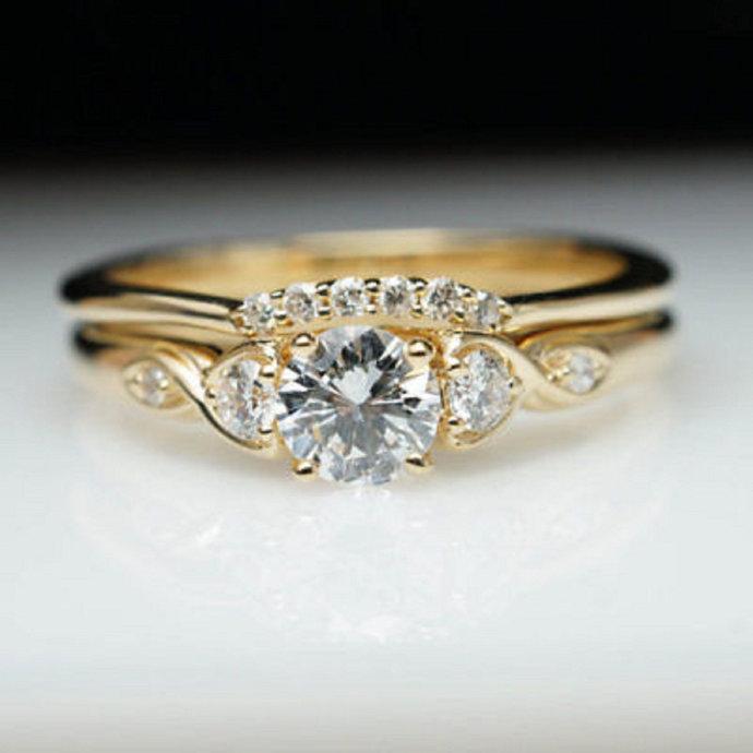 0.89 Carat Ladies 14K Yellow Gold Finish Halo Set Diamond Bridal Engagement Ring