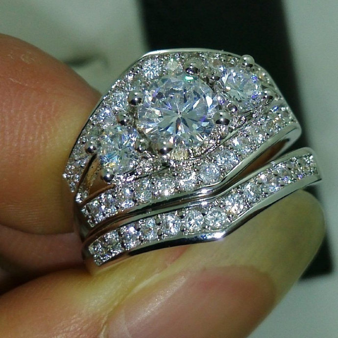 2.00 CT White Gold Plated 3-Stone Round Cut 925 Sterling Silver Diamond Women's