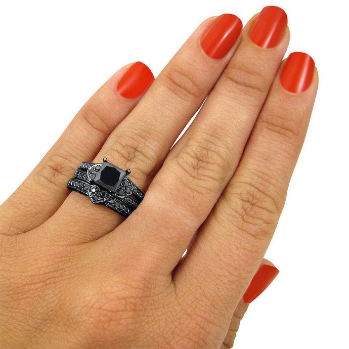Princess Cut Black Diamond 925 Silver Engagement Bridal Ring Set 14K Black Gold