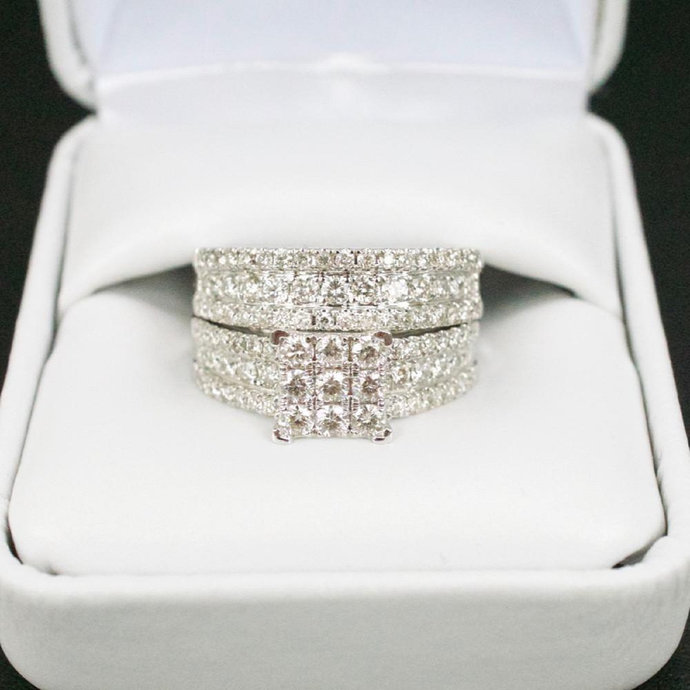 Sterling Silver Ring Set - Cubic Zirconia Wedding Ring Set Engagement Ring -