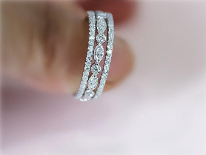 1.00 Carat Diamond 14K White Gold Finish Wedding Band 3 Pcs 925 Sterling Silver