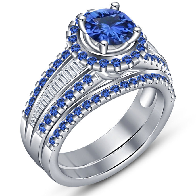 14K White Gold Finish Man Made Sapphire Wedding Band, Wedding Set, 925 Sterling