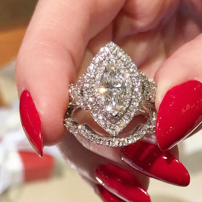 14k White Gold Finish Bridal Wedding Set ,Halo Style White Marquise Cut Diamond