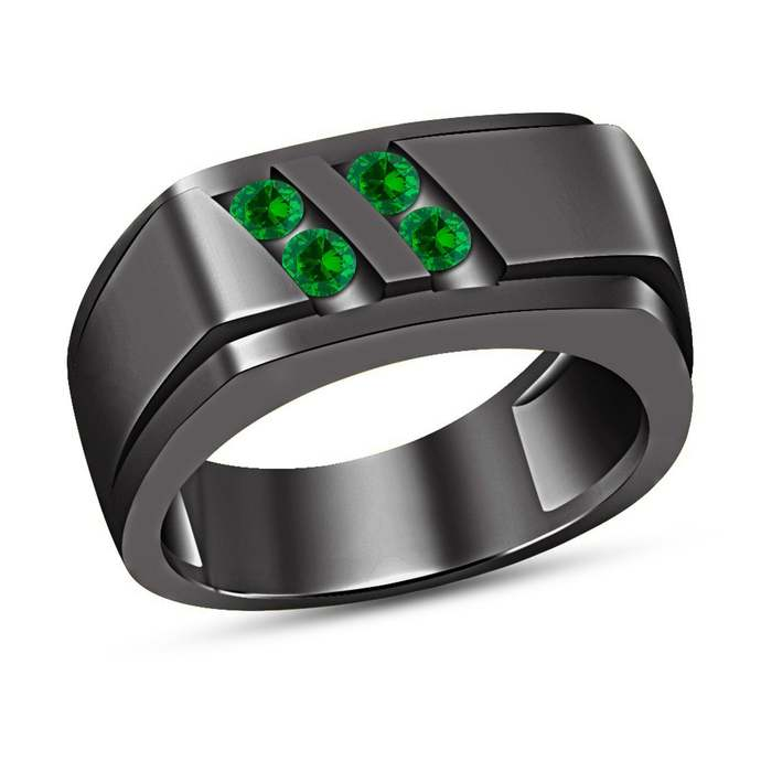 10K Black Gold Plated Round Cut Green Emerald Diamond Mens Wedding Band