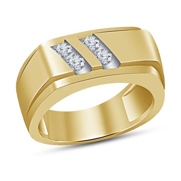10K Yellow Gold Finish Round Cut Diamond Mens Wedding Band Engagement Ring 925