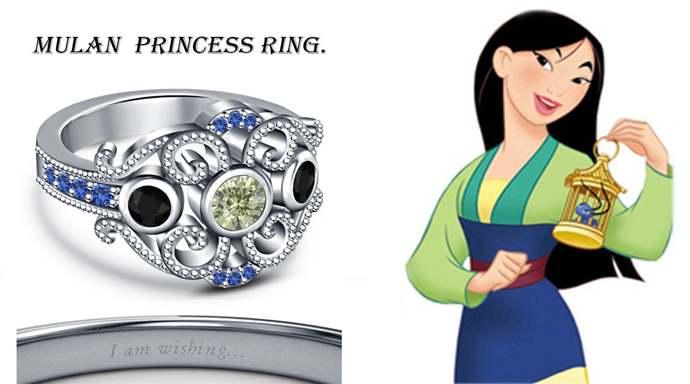 1.30 Ct Round Multi Color Stone Disney Mulan Princess Engagement Ring 18K White