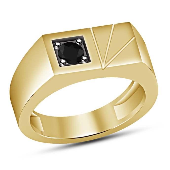 14k Yellow Gold Finish, Men Wedding Band, Black Diamond Wedding Band, Unique Men