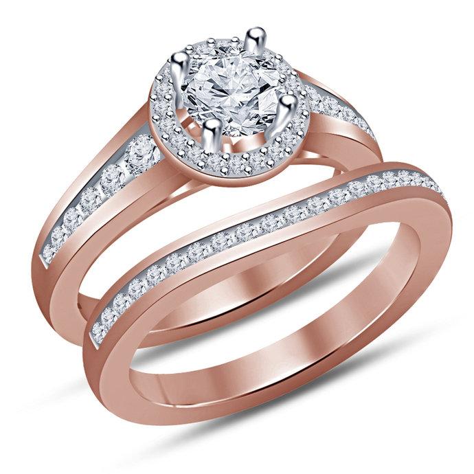 14k Rose Gold Finish Women's 2 Pcs Engagement Bridal Rings Set Round Cut Diamond