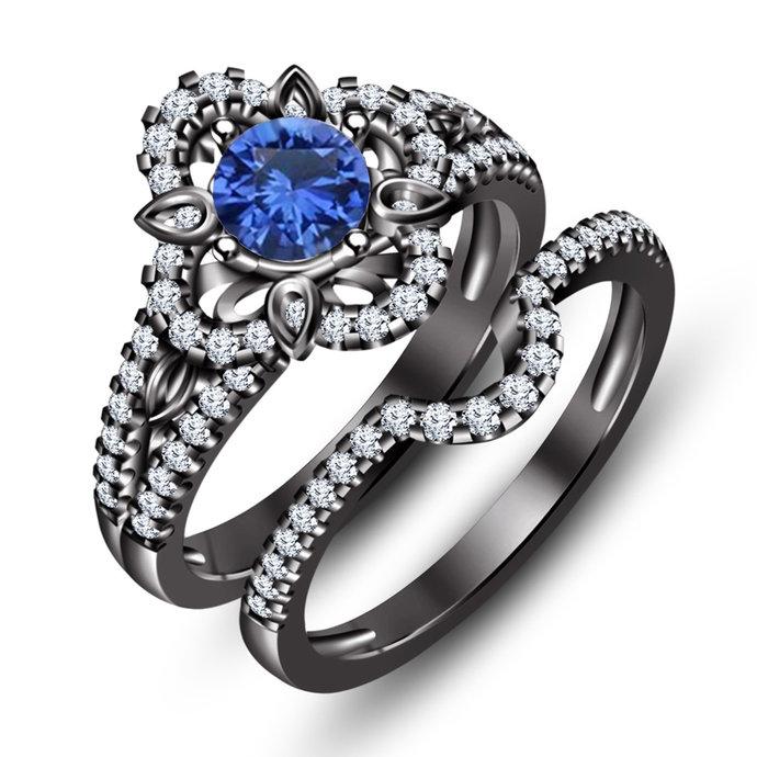 sterling silver ring blue sapphire September birthstone ring, Black Gold Finish