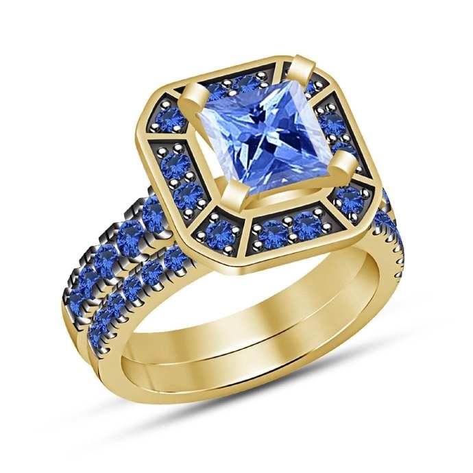 14K Yellow Gold Finish Blue Sapphire Princess Cut Engagement Wedding Bridal Ring
