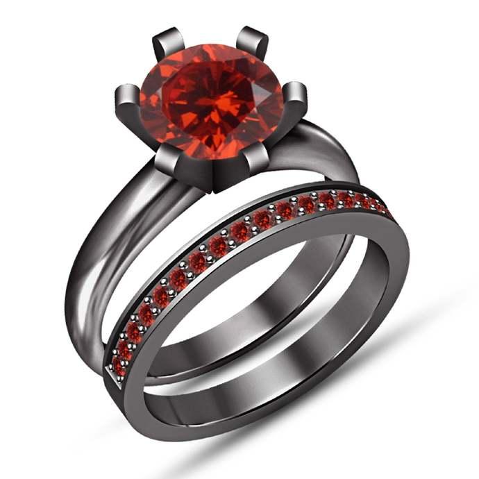Round Cut Red Garnet 14K Black Gold Finish Ladies Engagement Wedding Band Bridal