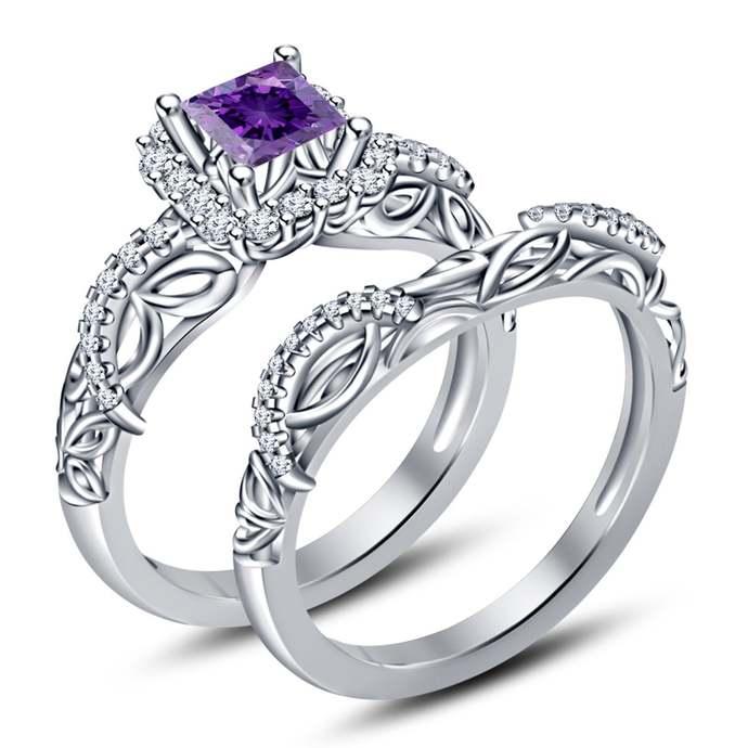 sterling silver wedding ring lab-created amethyst ring February birthstone
