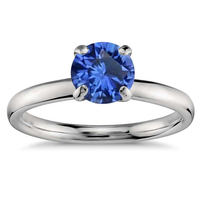 sterling silver ring round cut sapphire ring blue sapphire engagement ring blue