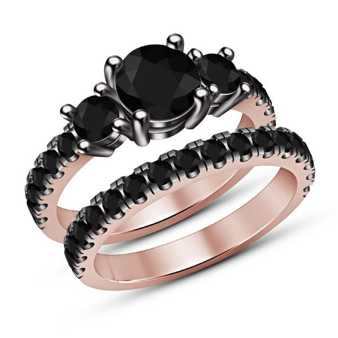 14k Rose Gold Finish Round Cut Three Stone Black Diamond 925 Silver Engagement