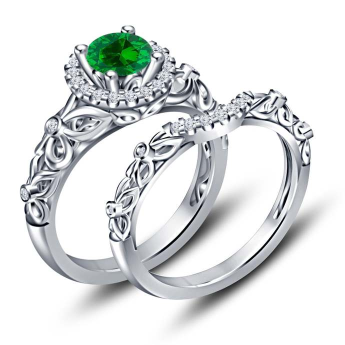 Sterling Silver Ring Lab Round Emerald Gemstone Ring For Her May Birthstone Ring