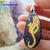 Fantastic handpainted gold dragon wood pendant resin coat on both sides fantasy