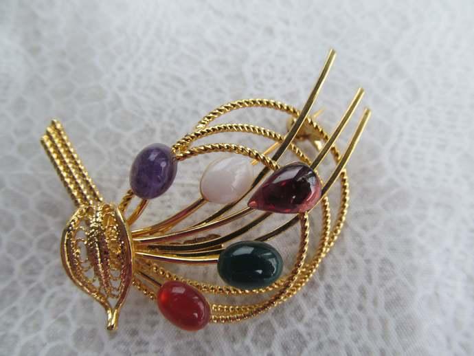 Swoboda signed floral bouquet brooch with multi genuine gemstones