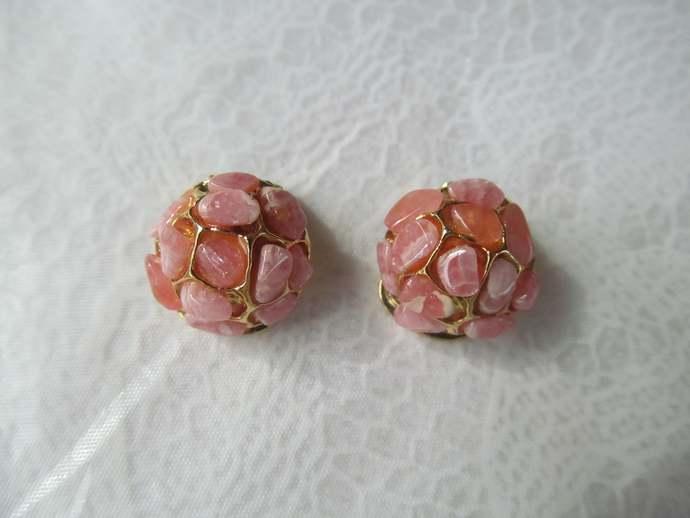 SWOBODA nugget vintage earrings with genuine pink rhodonite gemstones