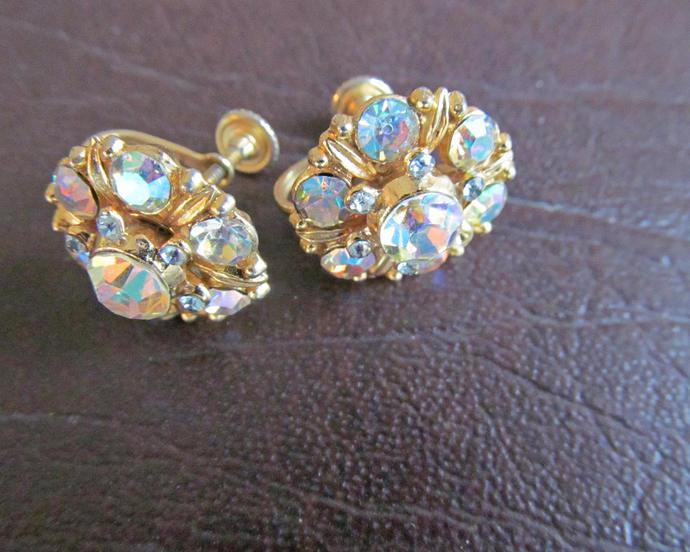 STAR signed vintage screw back aurora borealis earrings