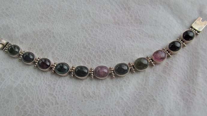 Sterling Silver multi colored gemstone link bracelet marked INDIA 925