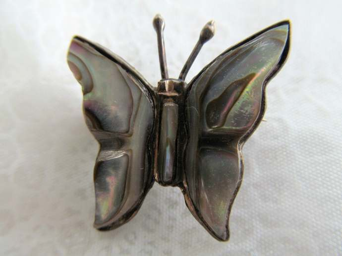 925 figural butterfly brooch with mother of pearl from Mexico