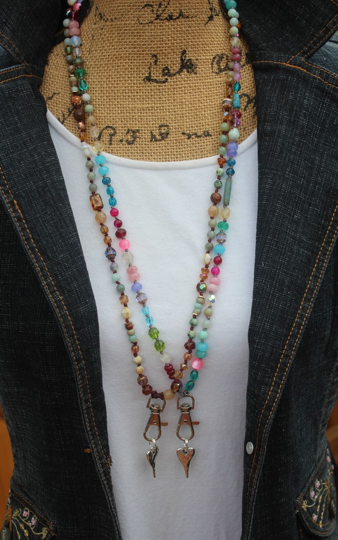 Beaded Neck Lanyard Keychain Identification cards Choose Color Beautiful Jewelry
