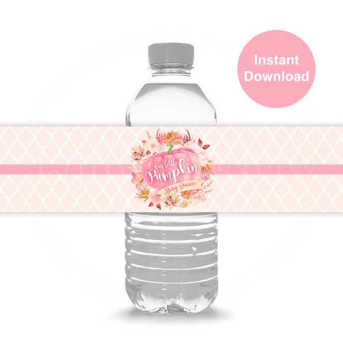 Pumpkin Water Bottle Labels, Little Pumpkin Baby Shower Labels, Instant