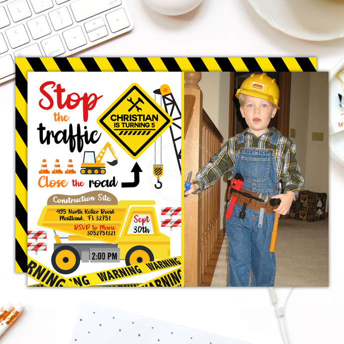 Construction Photo Invitation, Yellow Dump Truck Invitation, Caution Invitation,