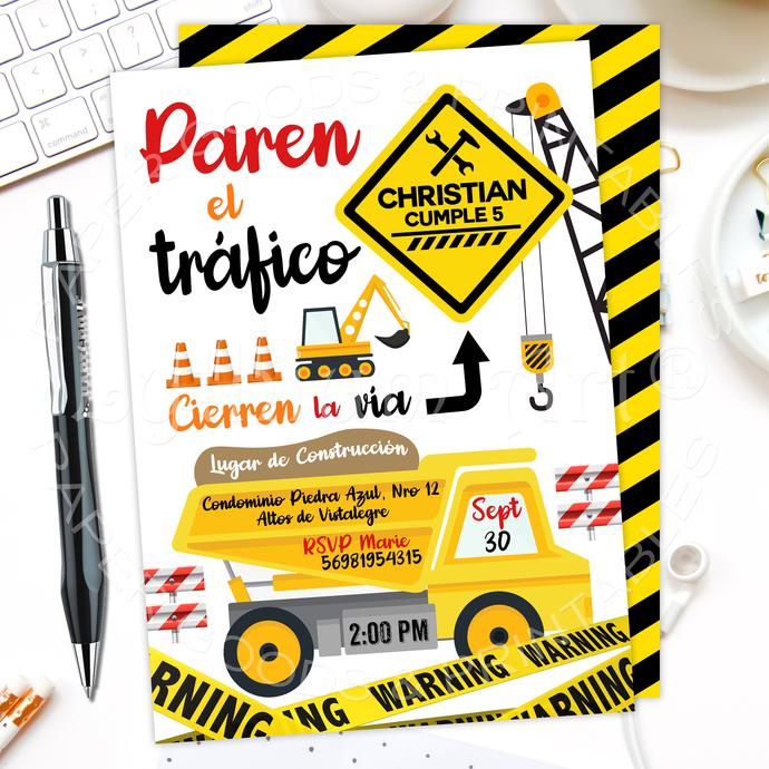 Construction Birthday Invitation, Yellow Dump Truck Invitation, Caution