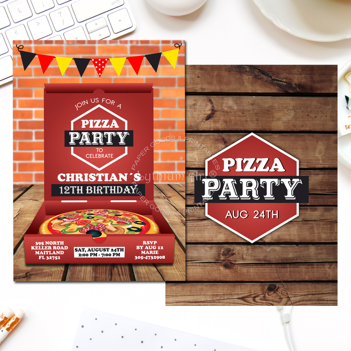 Pizza Invitation, Pizza Party Invitation, Little Chef Invitation, Italian Pizza