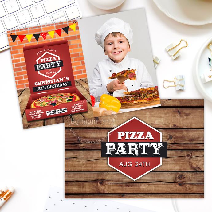 Pizza Photo Invitation, Pizza Party Photo Invitation, Boy Little Chef