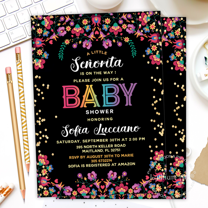 Fiesta Baby Shower Invitation, A Little Señorita is on the Way, Mexican Floral