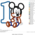 Baby 1st Birthday Embroidery Design Applique - Mickey Mouse