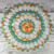 """Large Crocheted Shaded Peach White Green Rose Doily Table Topper Doily - 15 1/2"""""""