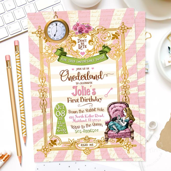 Alice In Wonderland Invitation, Onederland Girl's 1st Birthday Party Invitation,