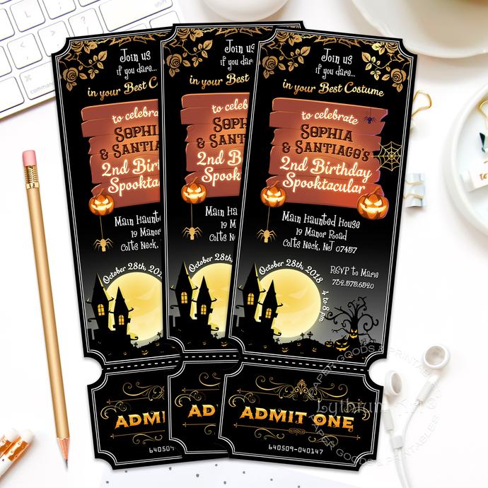 Halloween Ticket Invitation, Halloween Invite, Spooktacular Party, Spooky