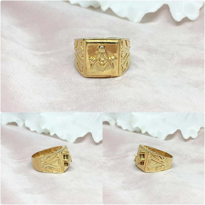 Vermeil 14K Gold Over Sterling Silver Mason Ring