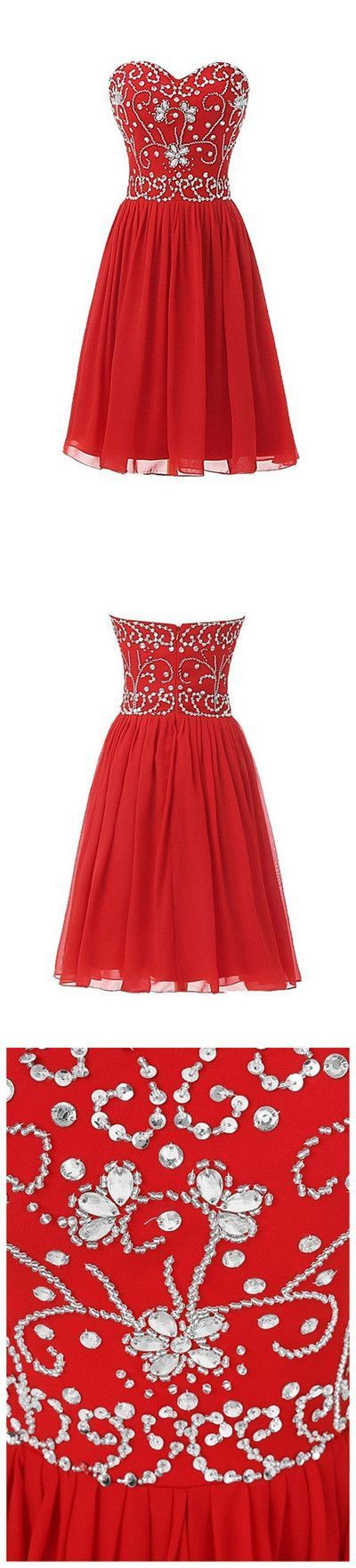 Stylish Beaded Prom Dress, Sweetheart neck Red Short Homecoming Dress