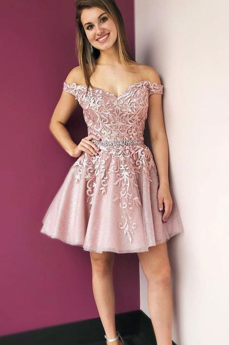 Stylish Off Shoulder Pink Tulle Homecoming Dress, Short Appliques Party Dress