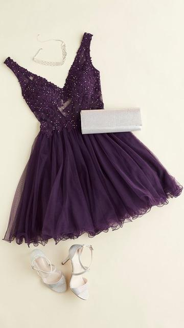 Stylish V neck Prom Dress, Beaded Appliques Short Homecoming Dress