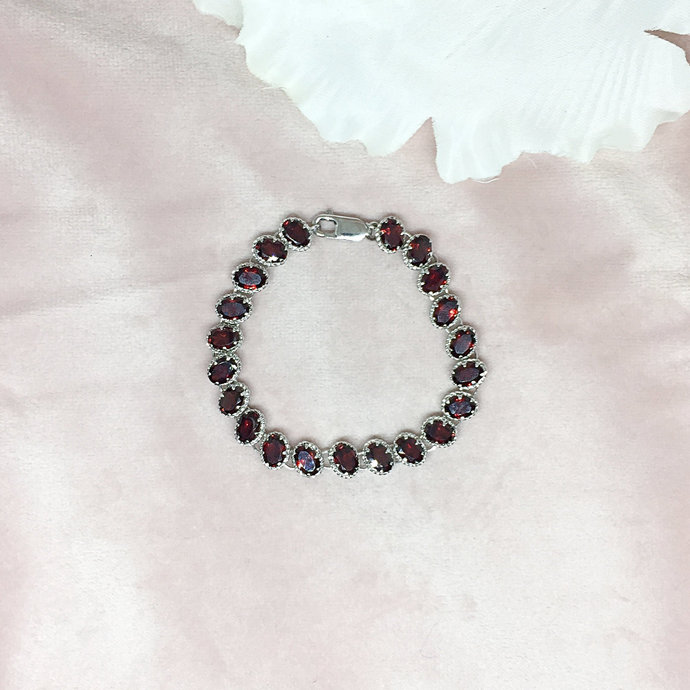 Garnet Sterling Silver Bracelet