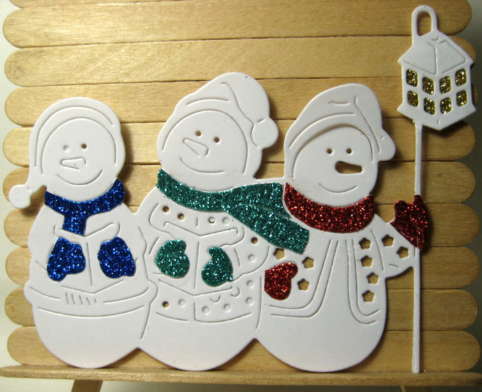 3 Snowmen with Lantern Cutting Die